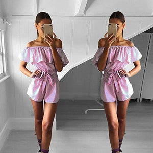 Sexy floral ruffles jumpsuit women romper summer backless jumpsuit lady new Shorts boho beach jumpsuit coveralls female frock-cigauy