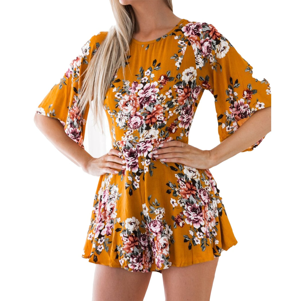 Boho Summer Women Playsuit Sexy Backless Flare Half Sleeve Jumpsuit Overalls Floral Printed Loose Shorts Bodysuit Beach Rompers-cigauy