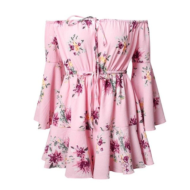 Dicloud 2018 Summer Women Playsuits Off Shoulder Pleated Waist Flare Sleeve Floral Printed Sexy Rompers Sweet Jumpsuit B2003-cigauy