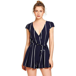 Chamsgend Women OL Fashion Summer Shorts Rompers Jumpsuit Blouse Lady Short Sleeve V Neck Striped Playsuit with Belt 80330-cigauy