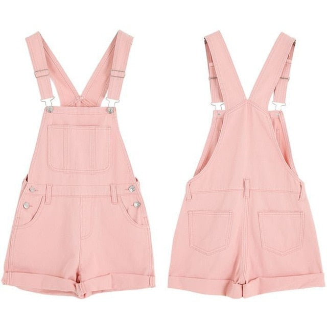 2018 Woman Harajuku summer overalls Institute of wind cultivating wild pink white denim overalls for women sweet jumpsuit-cigauy