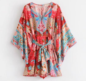 Bohemian Flower Peacock Print Open Buttons V neck Jumpsuit New Women With Sashes Bat sleeve Short Pants Romper Overalls Red-cigauy