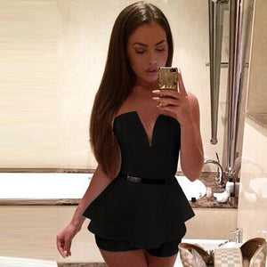 white black fashion tunic playsuit Deep V Neck Women Elegant Sexy strapless Romper Sleeveless One Piece Straps Shorts jumpsuit s-cigauy