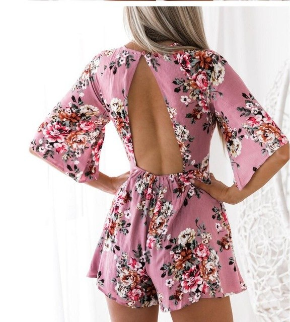 2018 spring summer Sexy Women Lace Crochet rompers womens jumpsuit Solid color bandage Back Short Feminino overalls-cigauy