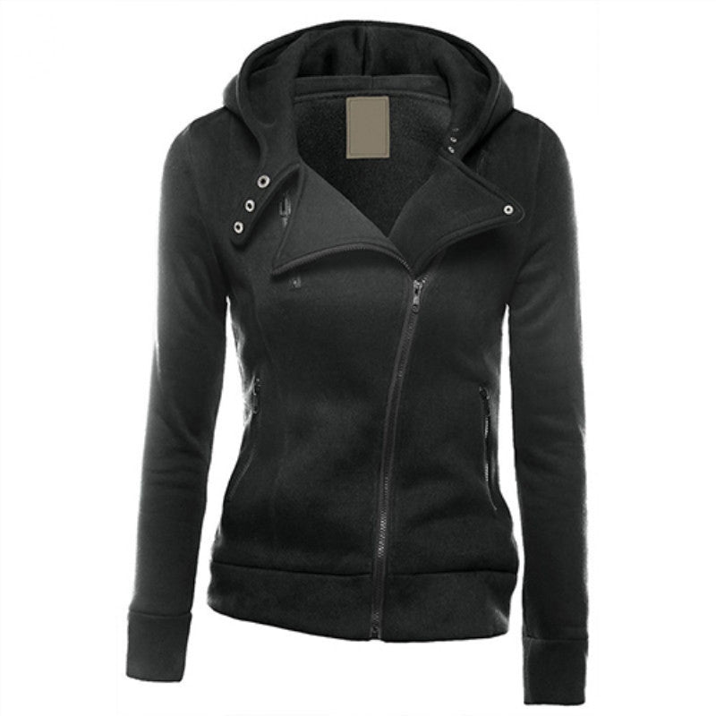 Women Fashion Zipper Hoodie Hooded Sweatshirt Coat Jacket Casual Slim Outwear-cigauy