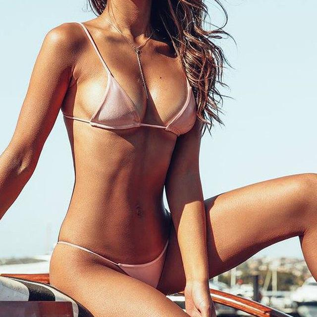 Womens Swimwear Hot Sexy 2018 New Solid Color bikini set Swim Suit Bandage bathing suits Triangle Bra Low Waist thong Beach Wear-cigauy