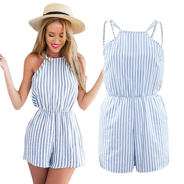 Fashion 2018 Sexy Women Playsuit Casual Vintage Short Rompers Jumpsuit Summer Ladies Clothing Beach Off Shoulder Brand Overalls-cigauy