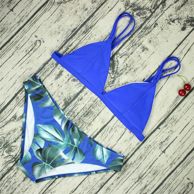 YILU 2018 Womens Triangle Bikini Micro Swimsuit Flower Prints Padded Bikini Sets Push Up Swimwear Bathing Suit Bandage Biquini-cigauy