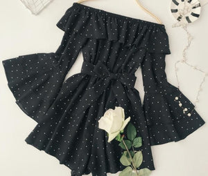 ALPHALMODA 2018 Summer Ladies Polka Dot Slash Neck Ruffled Sleeve Playsuits with Sashes Sexy Off-shoulder Vintage Sleeve Rompers-cigauy