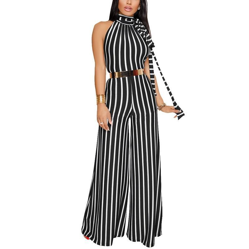 Pndodo 2018 Women Long Stripe Jumpsuit Hanging Neck Backless Sexy Party Jumpsuit Sleeveless Beach Ladies Summer Jumpsuit Romper-cigauy