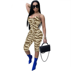 HAOYUAN Camouflage Print Playsuits Backless Deep-V Skinny Sexy Bodysuit Summer Overalls Spaghetti Strap Rompers Womens Jumpsuit-cigauy