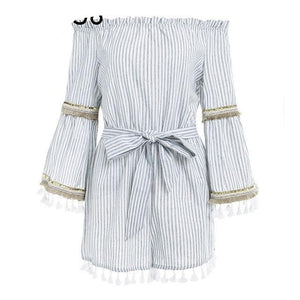 BerryGo Stripe flare sleeve jumpsuit romper women Vintage tassel beach short jumpsuit Summer off shoulder sexy playsuit overalls-cigauy