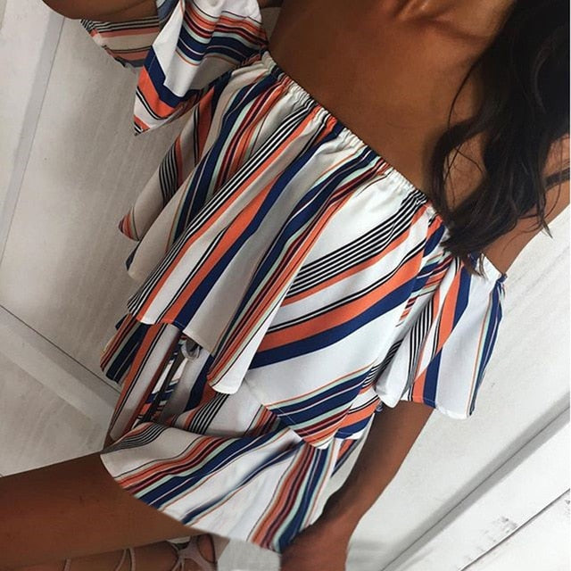 Summer 2018 Women Strapless Playsuit Striped Rompers Ruffles Sleeve Jumpsuit Backless Sexy Overall Casual Beach Short Pants-cigauy