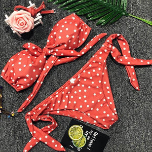 2018 Sexy Swimwear Dot Bikini Set Push Up Swimsuit Women Chest Bow Knotted Bikinis Female Beach Wear Biquini Bandeau Swimsuits-cigauy