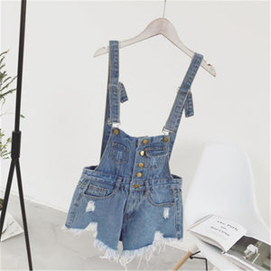 CbuCyi New Vogue Women Denim Playsuits Salopette Straps Cotton Short Romper Loose Casual Overalls Shorts Rompers Ladies Playsuit-cigauy