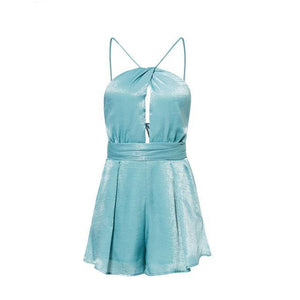 Lily Rosie Girl Halter Crop Sexy Women Playsuits 2018 Summer Beach Backless Jumpsuits Blue Overalls Sleeveless Female Rompers-cigauy