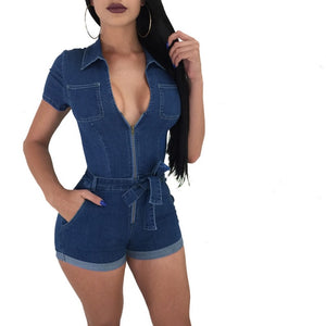 Women Summer Casual Street Denim Short Sleeve Playsuits Deep V Party Jeans Slim Jumpsuits Female Bodysuits Vintage Rompers-cigauy