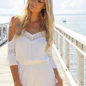 New Arrivals 2018 Summer Beach Style Women Jumpsuit Sexy V Neck off Shoulder Casual Chiffon Short Pants Jumpsuit White-cigauy