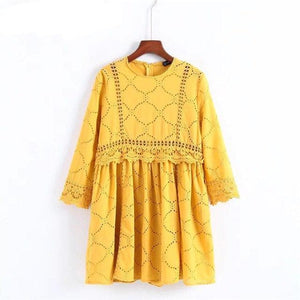 GCAROL 2018 Women Hollow Out Crochet Lace Jumpsuits High Wasited Summer Yellow Bright Color Baby-doll Playsuits With Pockets-cigauy