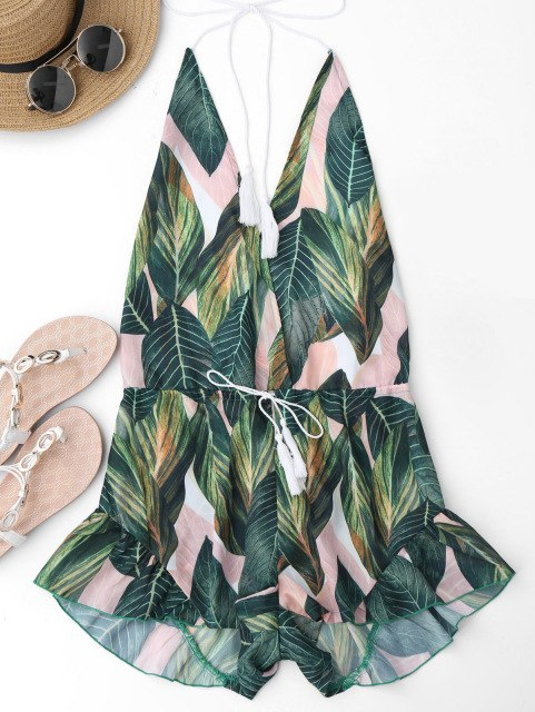 Gamiss Backless Deep V Neck Sexy Halter Romper Jumpsuit Women Drawstring Leaf Print Summer Playsuit Ladies Beach Overalls-cigauy