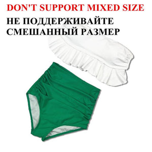 2018 High Waist Swimwear Bikini Set Vintage Retro Sexy Push Up Swimsuit Bandage Swimwear Bathing Suit Green ruffle Beachwear-cigauy