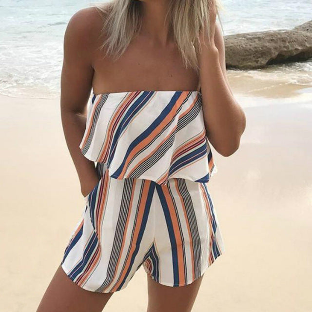 New Rompers 2018 Beach Wear Playsuits Women Print Jumpsuit Chest Wrapped Strapless Short Overalls Female Summer Playsuit GV624-cigauy
