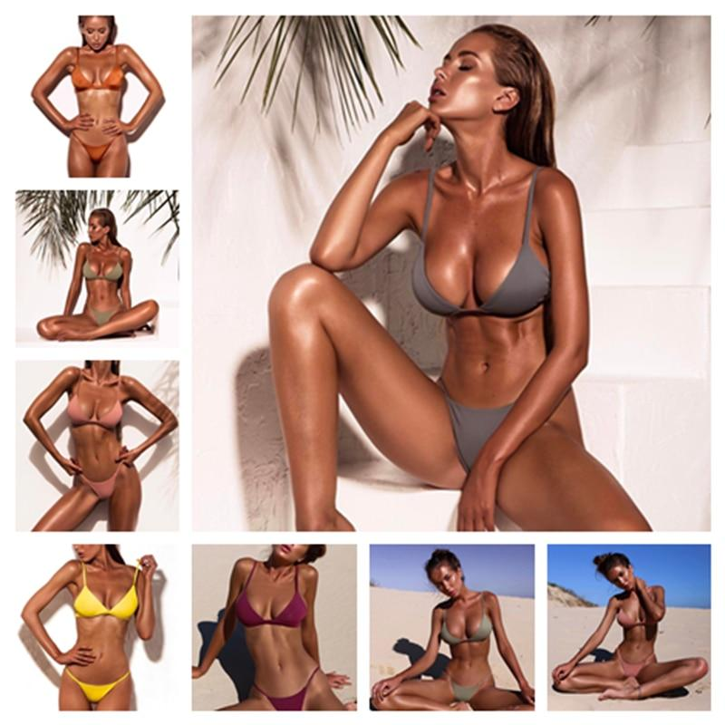 XREOUGA New Arrival Pink Bandage Bikini Sets Swimwear Women Sexy Thong Padded Maillot de Bain Orange Tankini Brazilian Push Up-cigauy