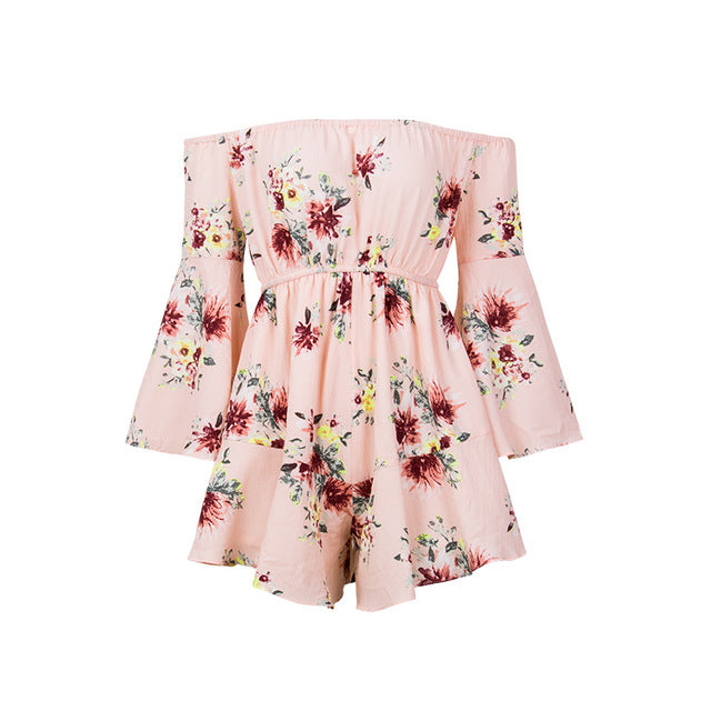 Gaovot 2018 Summer Spring Women Playsuits Sexy Off Shoulder Slash Neck Floral Print Short Rompers Femme Jumpsuit Overalls S-XL-cigauy