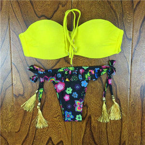 2018 Summer Style Floral Print Women Bikinis Set Crochet Lace Swimsuit Strapless Push Up Bandeau Biquinis Beachwear Bathing Suit-cigauy