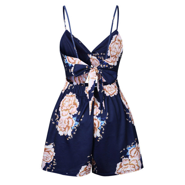 Sexy Women 2018 Summer Sexy Strapless Casual Romper Female Blue Floral Print Sleeveless backless Boho Beach Short Jumpsuit-cigauy