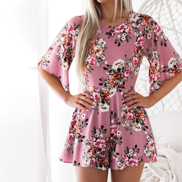 Sexy Women's Backless Mini Jumpsuit Floral Pink Yellow Colors Rompers Summer Beach Casual-cigauy