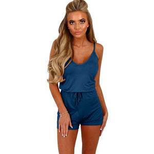 2018 Women Playsuits Sleeveless Backless Summer Rompers Casual Jumpsuits Shorts Spaghetti Strap Loose Solid Jumpsuits Rompers-cigauy