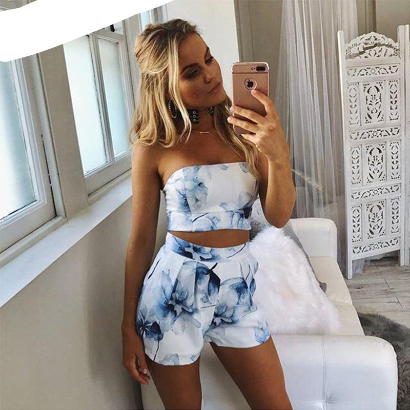 Gtpdpllt Sexy Summer Playsuit 2018 Women Two Piece Set romper Short Tops Overalls Rompers Womens Jumpsuit combinaison femme-cigauy