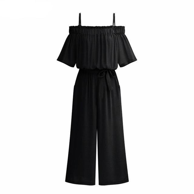 Women Summer Jumpsuit Slash Neck Off Shoulder Backless Sexy Wide Leg Pants Girls Beachwear Vacation Romper Casual Playsuit Boho-cigauy