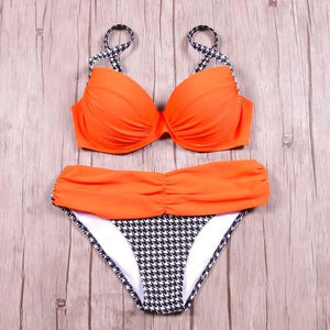 Sexy Bikinis Women Swimsuit 2018 Push Up Swimwear Retro Bandage Cut Out Brazilian Bikini Set Halter Beach Bathing Suit Swim Wear-cigauy