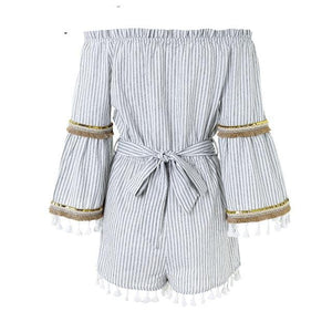 BerryGo Classic stripe folk boho romper women jumpsuit Sexy tassel off shoulder overalls flare sleeve beach summer playsuit-cigauy