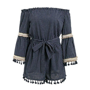 BeAvant National boho stripe tassel jumpsuit romper Women sexy off shoulder overalls Summer beach flare sleeve short playsuit-cigauy