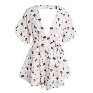 BeAvant Boho floral print beach romper women V neck backless sexy jumpsuit female Polka dot summer short playsuit macacao 2018-cigauy