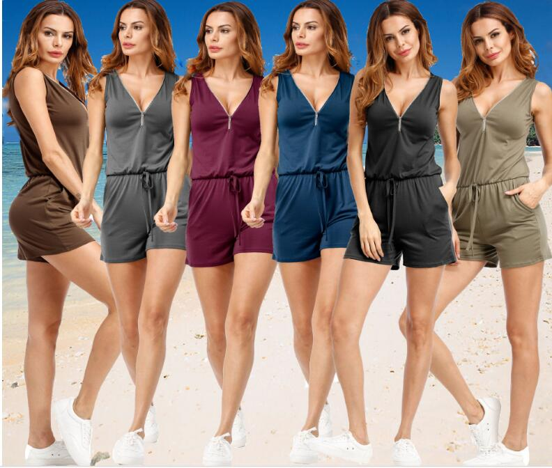 2018 Summer Women V-Neck Rompers Sexy Front Zipper Solid Elegant Bodycon Jumpsuit Sleeveless femme Playsuit Overalls Plus Size-cigauy