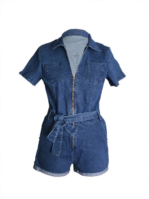 NATTEMAID Sexy Jumpsuit Romper Women Casual Blue Denim Jumpsuit Overalls Slim Bodycon Summer Jumpsuit Leotard Women Bandage-cigauy