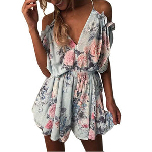 ELSVIOS 2018 Women Print Lace Rompers Casual Jumpsuits Summer Short Pleated Overalls Chest Wrap Strapless Beach Playsuits XS-3XL-cigauy
