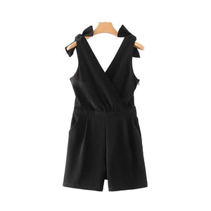 Vadim women sweet bow tie lace patchwork jumpsuits V neck sleeveless pockets rompers black female casual chic pants KA017-cigauy