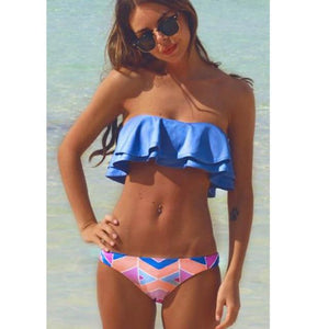 SAMEGAME Sexy Bandage Bikini Push Up Swimwear Women Swimsuit Brazilian Bikini Set 2018 Summer Patchwork Underwire Bathing Suits-cigauy