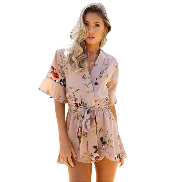 ELSVIOS 2018 Sexy V Neck Ruffles Women Rompers Playsuit Summer Floral Pint Elegant Jumpsuits Casual Beach Overalls Belt XS-3XL-cigauy