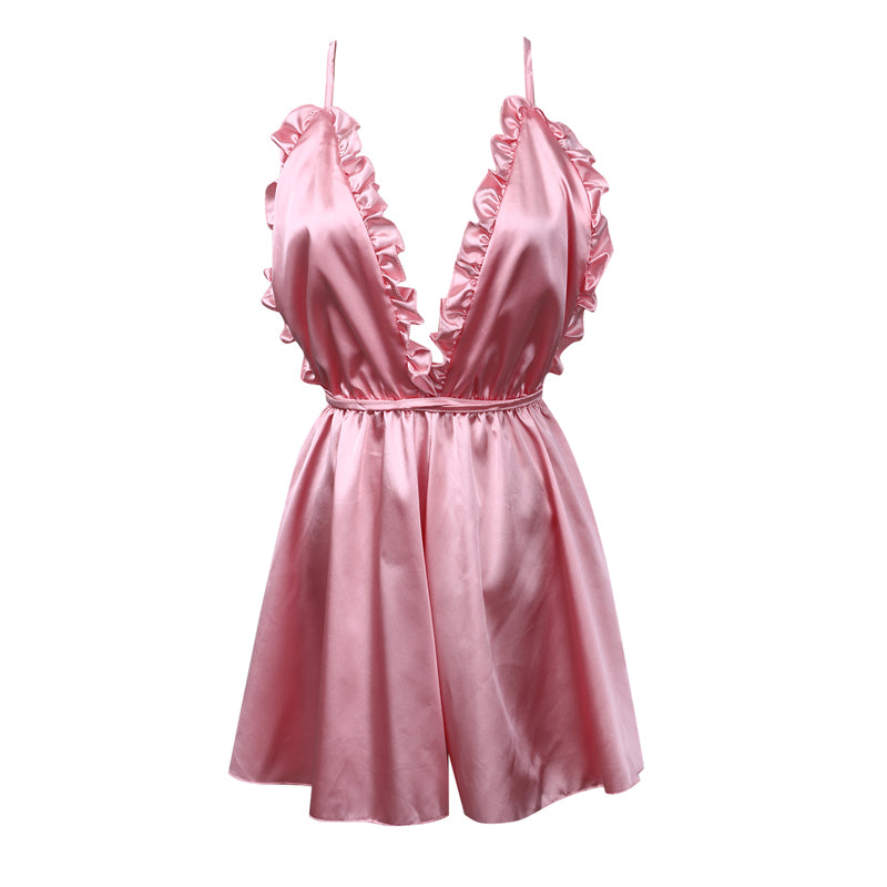 Fashion Women Sexy Sleepwear Soft Satin Summer Backless Loose Jumpsuit Rompers Nightwear Clubwear Playsuit Short Pants Trousers-cigauy