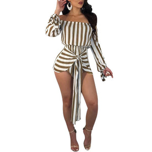 HAOYUAN S-XXL Rompers Womens Jumpsuit 2018 New One Piece Bodysuit Summer Overalls Off Shoulder Long Sleeve Bandage Sexy Playsuit-cigauy