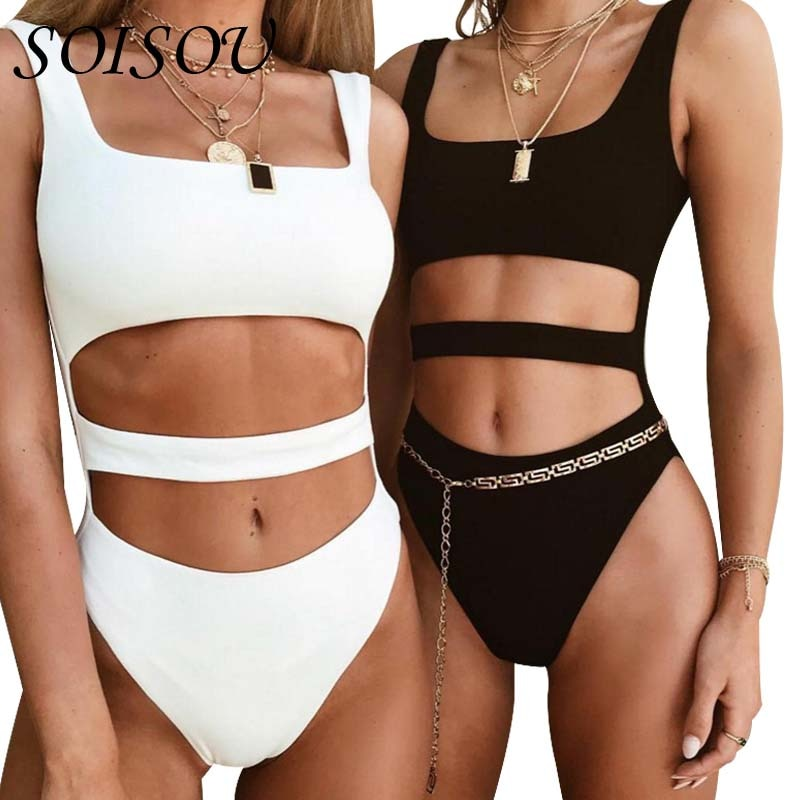 SOISOU Sexy Jumpsuit 2018 Fashion 2 Colors Slim Sleeveless Hollow Out Exposed Navel Rompers Womens Jumpsuit Summer-cigauy