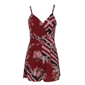 Simplee Sexy v neck print boho jumpsuit romper Backless tie up short jumpsuit women Pleated high waist casual summer playsuit-cigauy