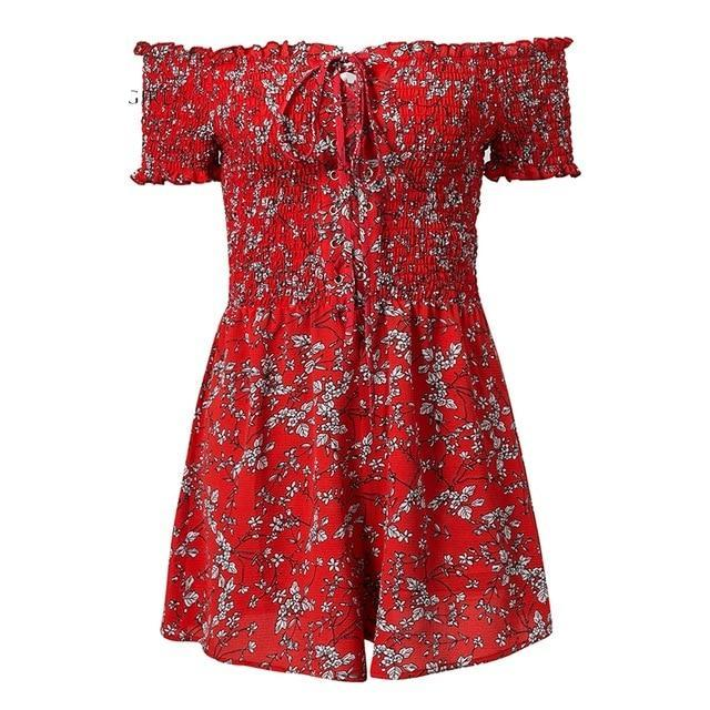 Lily Rosie Girl Strapless Beach summer jumpsuit Short ruffle floral print playsuit off shoudler women jumpsuit lace up rompers-cigauy
