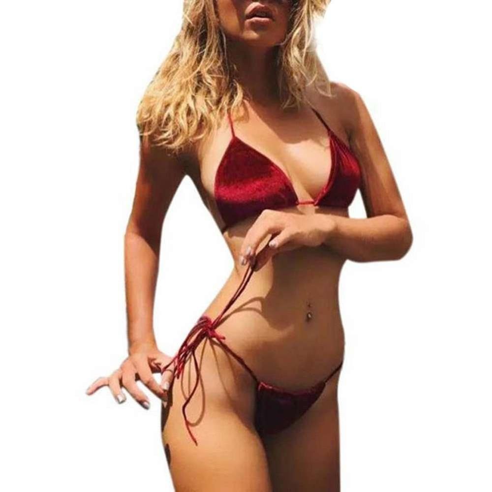 Women Velvet Thong Bikini Sets Blue Red Orange Swimwear Swimsuit Brazilian Beach Wear Bathing Suit High Quality 2018 New-cigauy